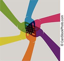 לוגו, שיתוף פעולה, ידיים