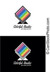 לוגו, template., צבעוני, יצירתי