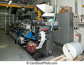 לוחץ, תעשיתי, להדפיס, printshop:, flexo
