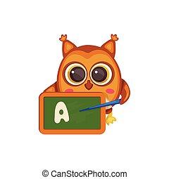 לוח לגיר, מכתב, חמוד, ללמד, ציור היתולי, ינשוף, מורה, בית ספר