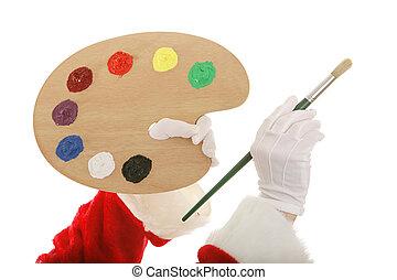 לוח צבעים, ידיים, santas, אומן