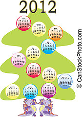 לוח שנה, עץ, חג המולד, 2012