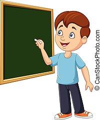לוח, תלמיד, ציור היתולי, לכתוב