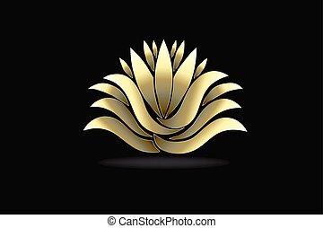 לוטוס, לוגו, פרוח, זהב