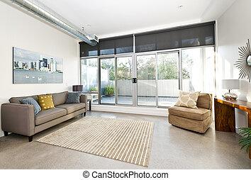 לחיות, חדר מודרני, מרפסת