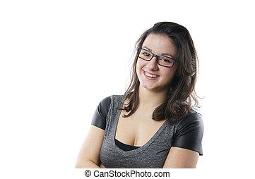 לחייך, אישה צעירה, עם, משקפיים