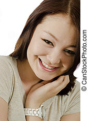 לחייך, אישה צעירה, עם, clocks
