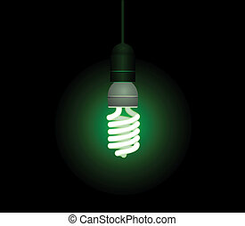 לחסוך, אור, אנרגיה, -, וקטור, פלורוסנטי, editable, נורת חשמל
