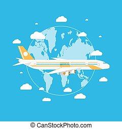 לטוס, כוכב לכת, passanger, מעל, הארק, מטוס