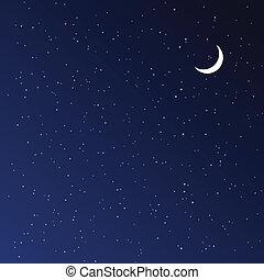 לילה, וקטור, illustration., sky.