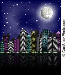 לילה, ירח, שמיים ברורים, עיר