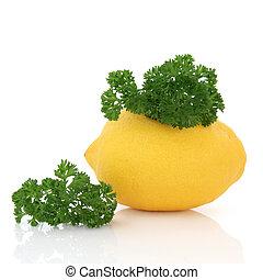 לימון, פרי, ו, פטרוזיליה, עשב