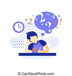 לכתוב, הקצאה, משימה, לחשוב, זכר, שיעורי בית, סטודנט, שעמם, חינוך, מושג, שולחן, קשה