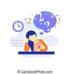 לכתוב, הקצאה, משימה, לחשוב, נקבה, שיעורי בית, סטודנט, שעמם, חינוך, מושג, שולחן, קשה