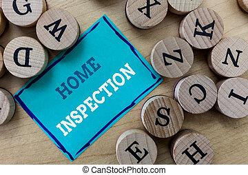לכתוב, ראה, להראות, בית, inspection., עסק, צילום, showcasing, בחינה, של, ה, אלף, של, a, בית, התיחס, תכונה