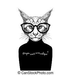ללבוש, סוודר, משקפיים, חתול