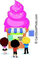 ללכת, אחסן, ילדים, גלידה