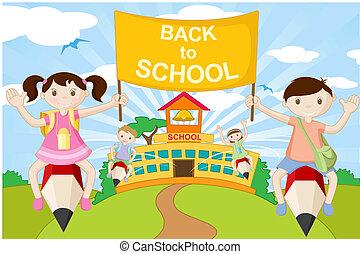 ללכת, עפרון, ילדים של בית הספר