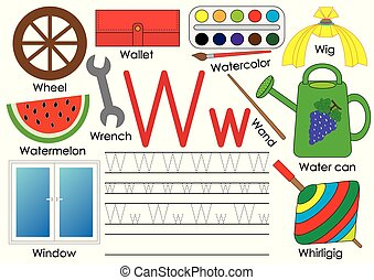 ללמוד, אלפבית, אנגלית, practice., לכתוב, וקטור, מכתב, w., children., חינוך, illustration.