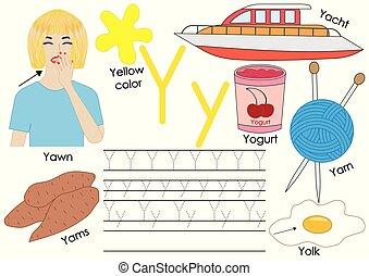 ללמוד, y., אלפבית, התאמן, לכתוב, וקטור, מכתב, אנגלית, children., תמונות, illustration.