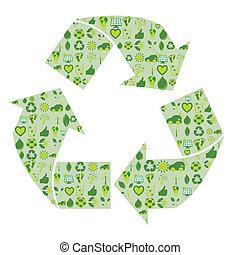 למחזר סמל, התמלא, עם, ב.י.ו., eco, סביבתי, התיחס, איקונים, ו, סמלים