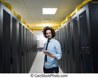 לעבוד, קדור, זה, שרת, מחשב, הנדס, חדר