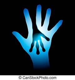 לעוז, צללית, ידיים אנושיות