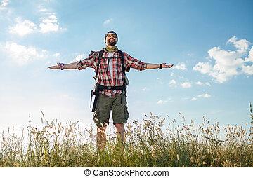 לעמוד, ילקוט, הציין, צעיר, גבעה, קוקאייזיאני, איש
