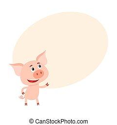 לעמוד, מצחיק, קטן, , חזיר, להסתכל, שני, רגליים
