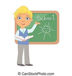 לעמוד, צבעוני, לוח, אופי, הפרד, רקע, לבן, לכתוב, תלמיד