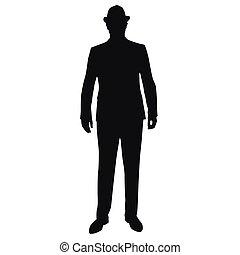 לעמוד, צללית, עסק, וקטור, כובע, איש