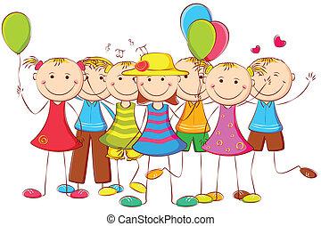 לעמוד, balloon, ילדים