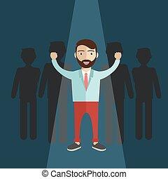 לעמוד, leader., cround, out, איש עסקים