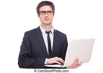 לעמוד, support., יפה, לעבוד, מחשב נייד, צעיר, פורמאלוואיר,...