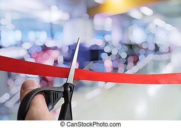 לפתוח, לחתוך, או, ribbon., event., טקס, מספריים, אדום