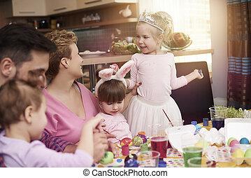לצבוע ביצים, חג הפסחה, שלם, משפחה