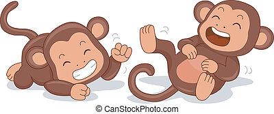 לצחוק, קופים