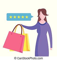 לקוח, שקיות, פידבק, קניות של אישה, ציון, סקור, דירה, stars., וקטור, נאום, דוגמה, concepts., בעבע, design.
