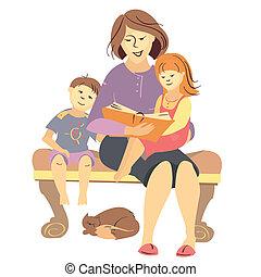 לקרוא, וקטור, ילדים, הזמן, אמא