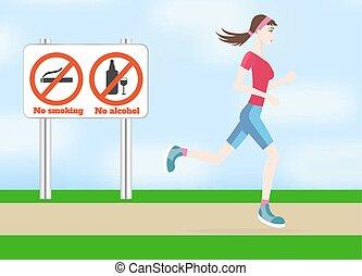 לרוץ, אישה, בחוץ