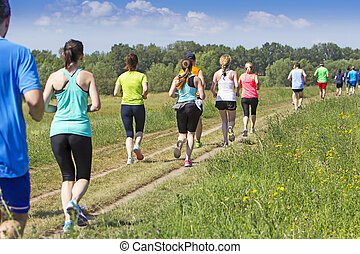 לרוץ, טבע, מרתון, הרבה, אנשים