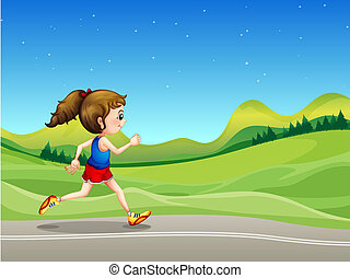 לרוץ, רחוב, גבעות, ילדה