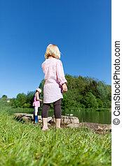 לשחק, אגם, ילדים
