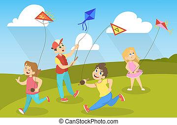 לשחק, חנה, ילדים, צבעוני, עפיפונים