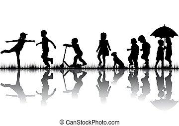 לשחק, צלליות, ילדים