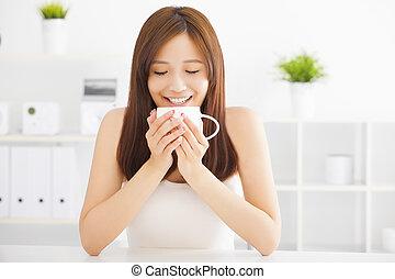 לשתות, שמח, קפה, צעיר, אסייתי