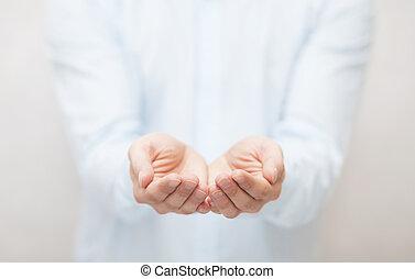 לתת, להראות, להחזיק, פתוח, concept., hands.