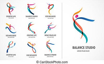מאלף, רשת, צבעוני, אנשים, רקוד, תקציר, ספורט, אולם התעמלות, לרוץ, וקטור, כושר גופני, פעיל, לוגו, design., logo., סמל, איקון