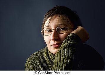 מבוגר צעיר, אישה, thinking.