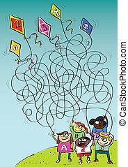 מבוך, משחק, ילדים משחקים, עפיפונים